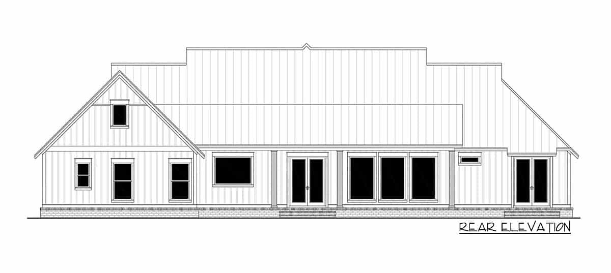 Rear elevation sketch of the two-story 5-bedroom modern farmhouse.