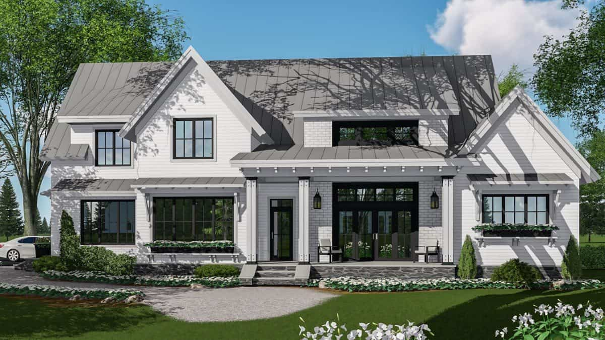 Front rendering of the two-story 5-bedroom modern farmhouse.