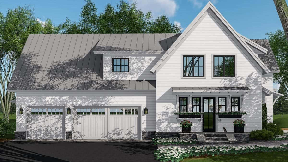 Side rendering of the two-story 5-bedroom modern farmhouse.