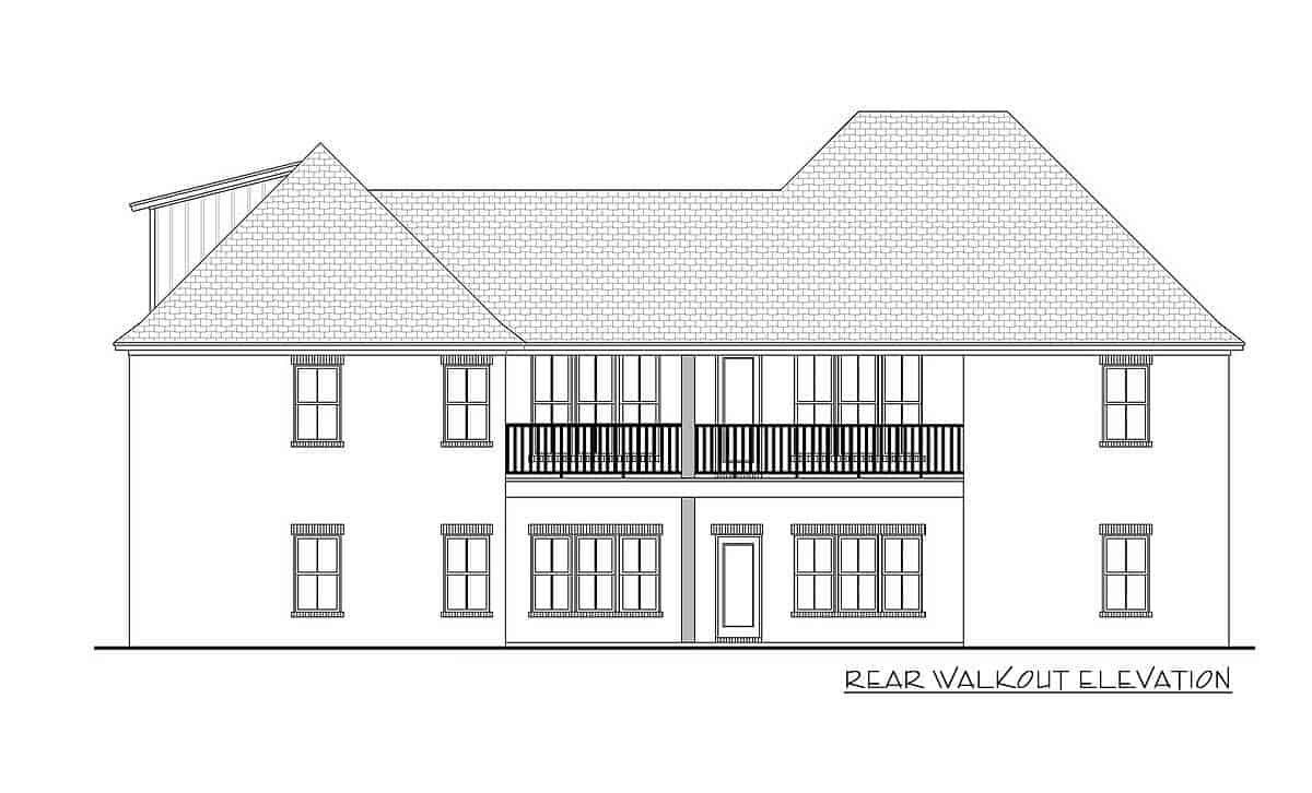 Rear walkout elevation sketch of the two-story 5-bedroom Southern French country home.