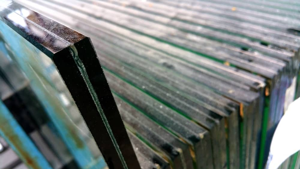 This is a close look at a thick insulated and laminated piece of glass.