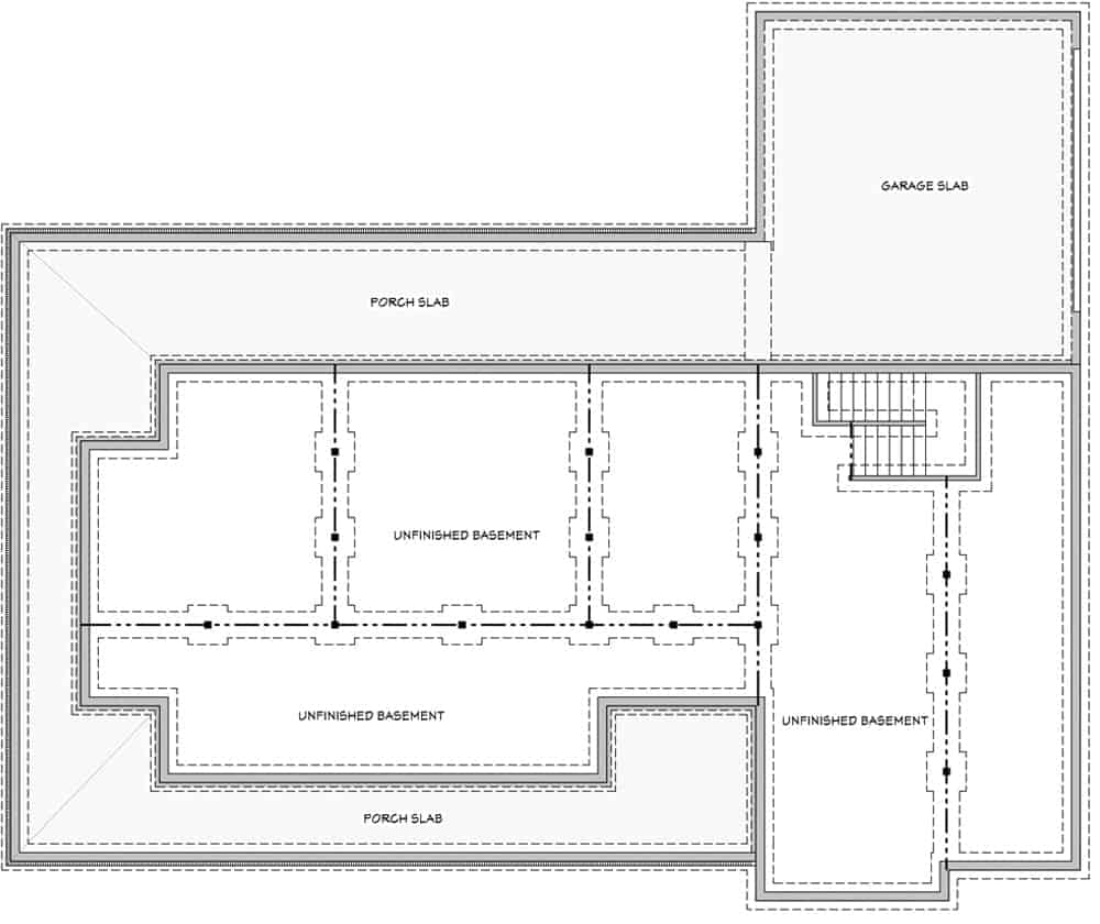Unfinished basement floor plan showing the garage slab, porch slabs, and unfinished spaces.
