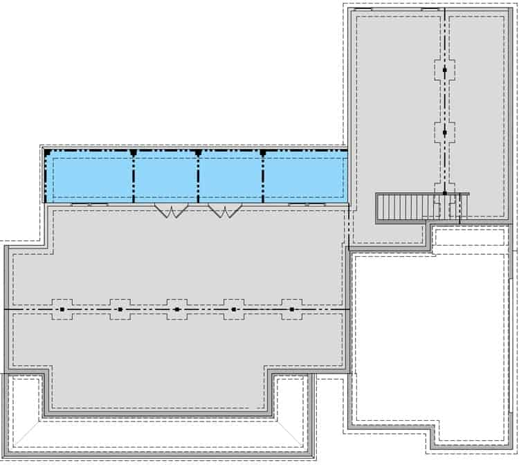 Walkout basement floor plan showing the unfinished spaces and rear entry porch.