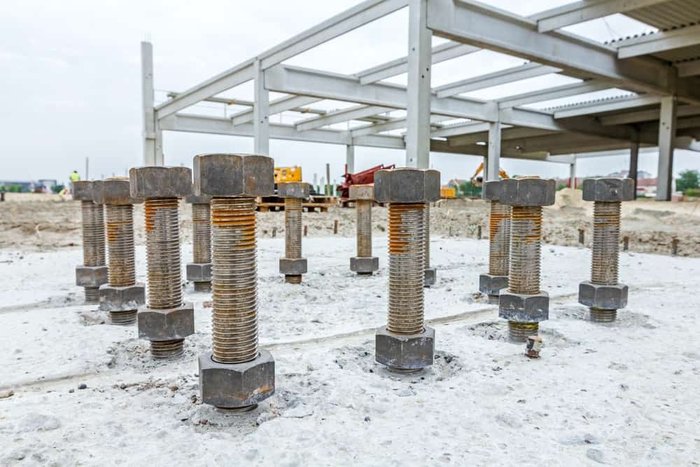 A look at anchor bolts in a construction site.