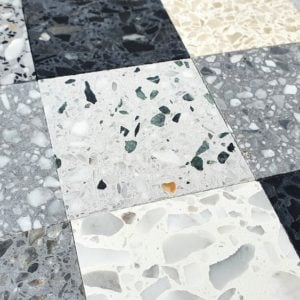 A close look at terrazzo tiles samples.