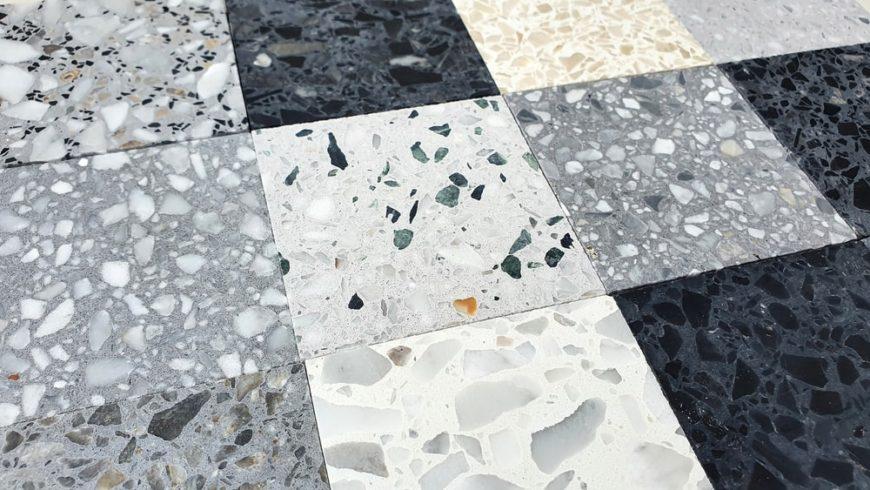 A close look at terrazzo tiles samples.