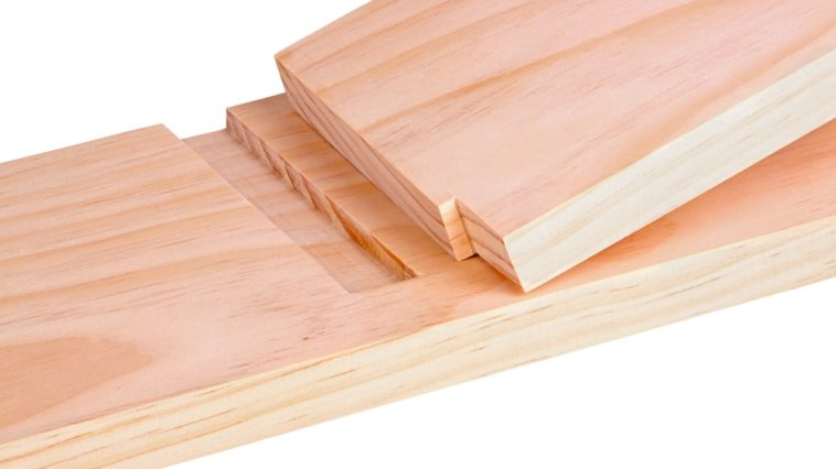 A close look at two pieces of wood joined together by a dado joint.