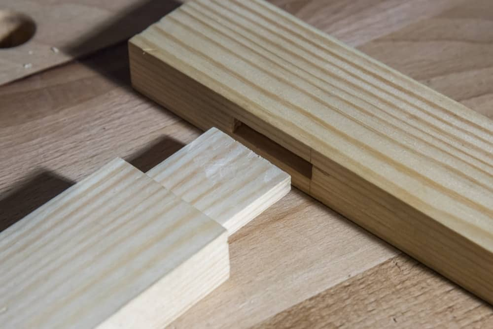 Two pieces of wood with dado joint.