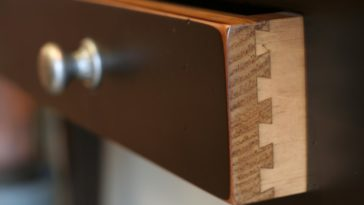 This is a close look at a wooden drawer with dovetail joint.