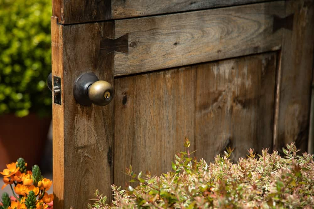 This is a close look at a wooden door with dovetail joints.