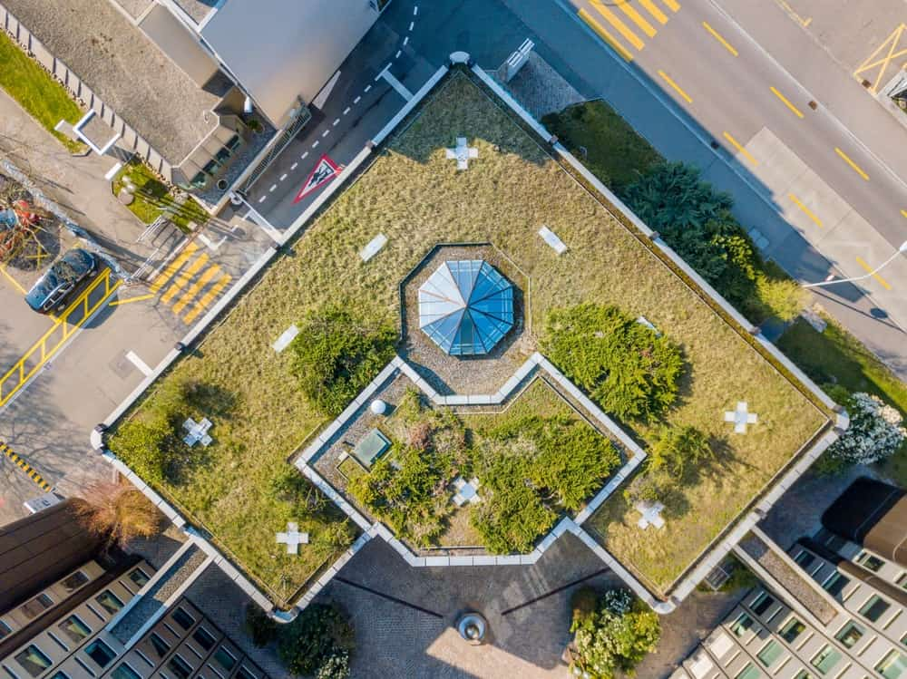 This is an aerial view of this building rooftop with parapet roof.
