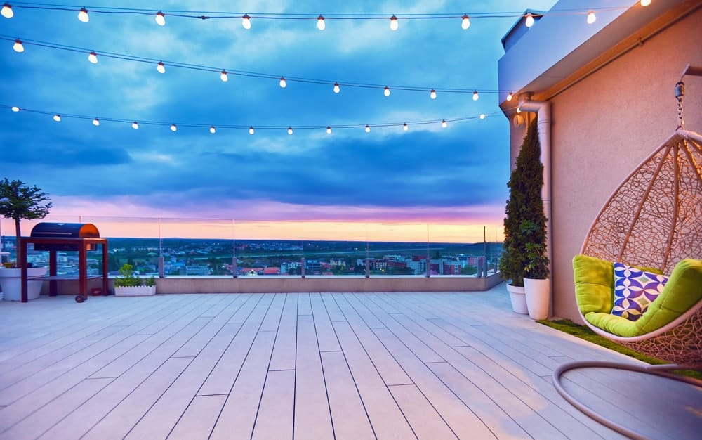 This is a rooftop patio with parapet roof.
