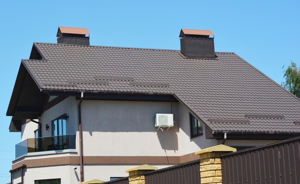 This is a close look at a house with saltbox roof.