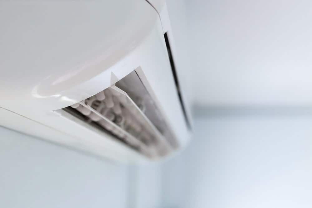 This is a close look at a wall-mounted split-type air conditioner.
