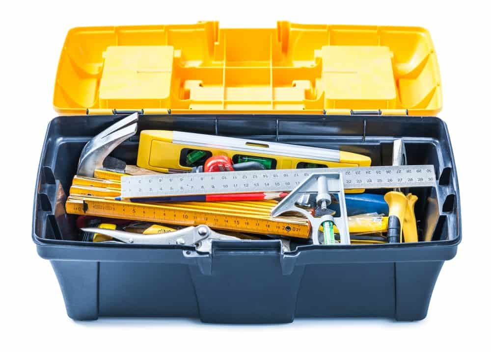 This is a plastic toolbox filled with various tools.