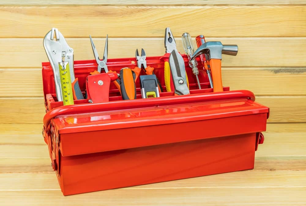 This is a red toolbox with various tools.