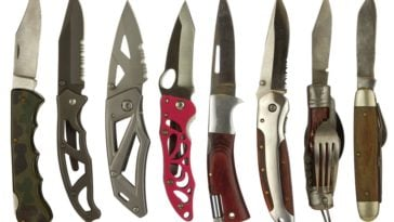 A close look at various different pocket knives.