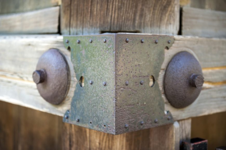 This is a close look at a miter joint that used metal pins and sheets.