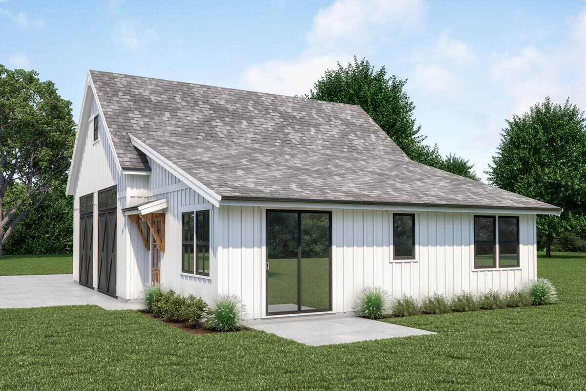 Right rendering of the 1-bedroom single-story country farmhouse.