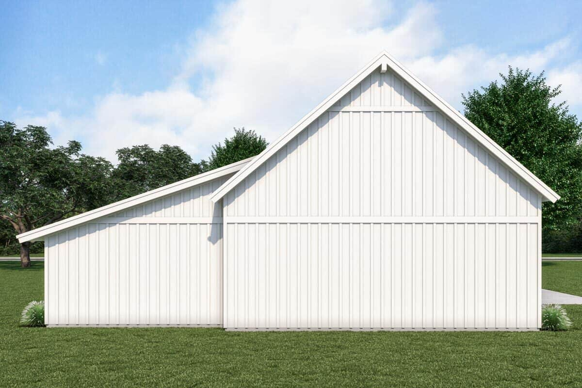 Rear rendering of the 1-bedroom single-story country farmhouse.