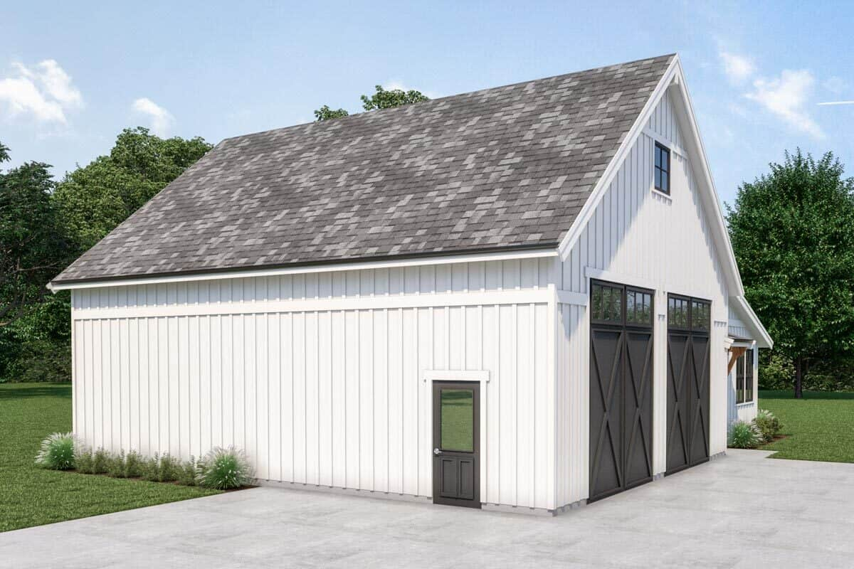 Left rendering of the 1-bedroom single-story country farmhouse.