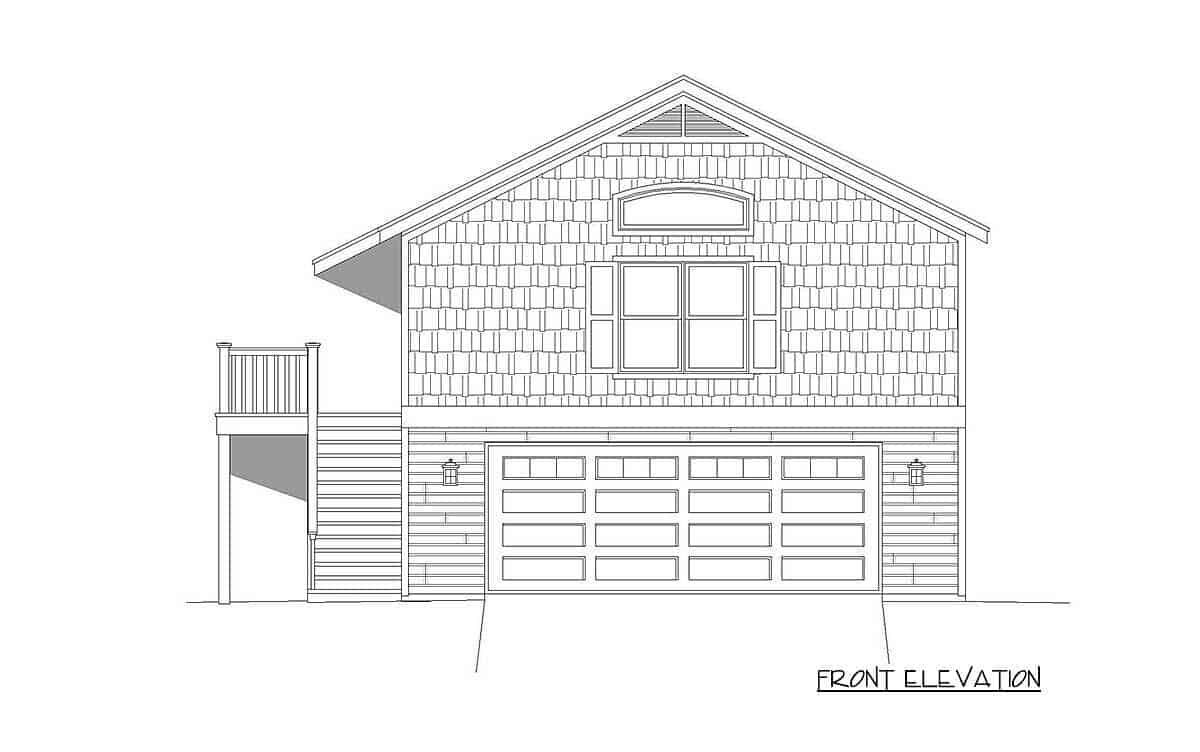 Front elevation sketch of the 1-bedroom two-story carriage home.