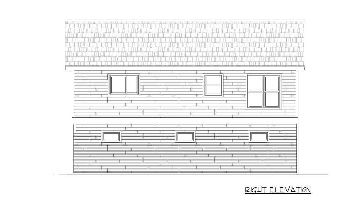 Right elevation sketch of the 1-bedroom two-story carriage home.