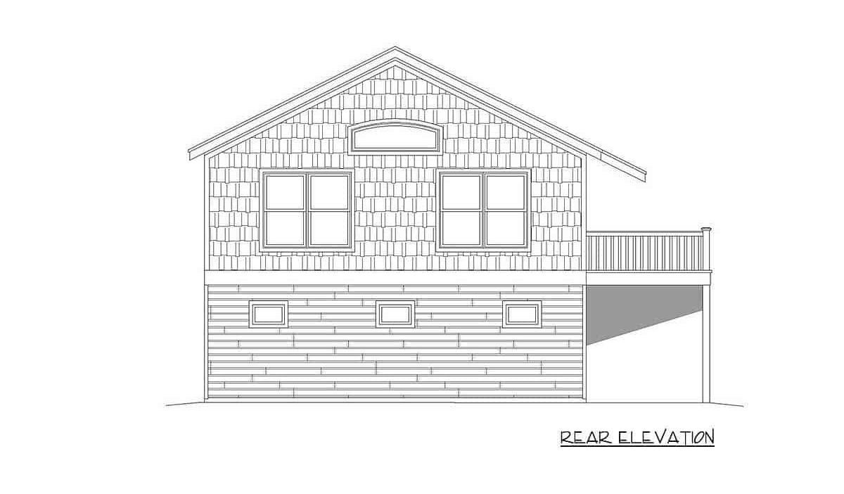 Rear elevation sketch of the 1-bedroom two-story carriage home.
