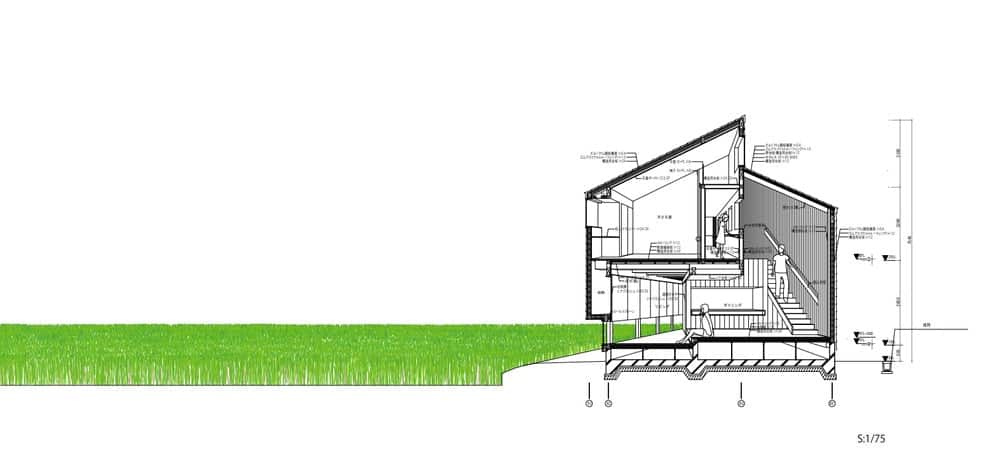 This is an illustrated representation of the cross elevation of the house featuring the various sections of the house.