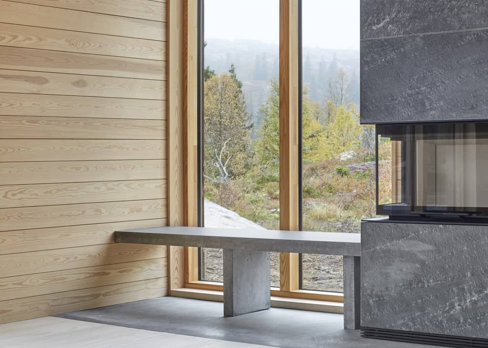 This is another built-in concrete bench that is also connected to the concrete modern fireplace lit by the natural light of the glass wall.