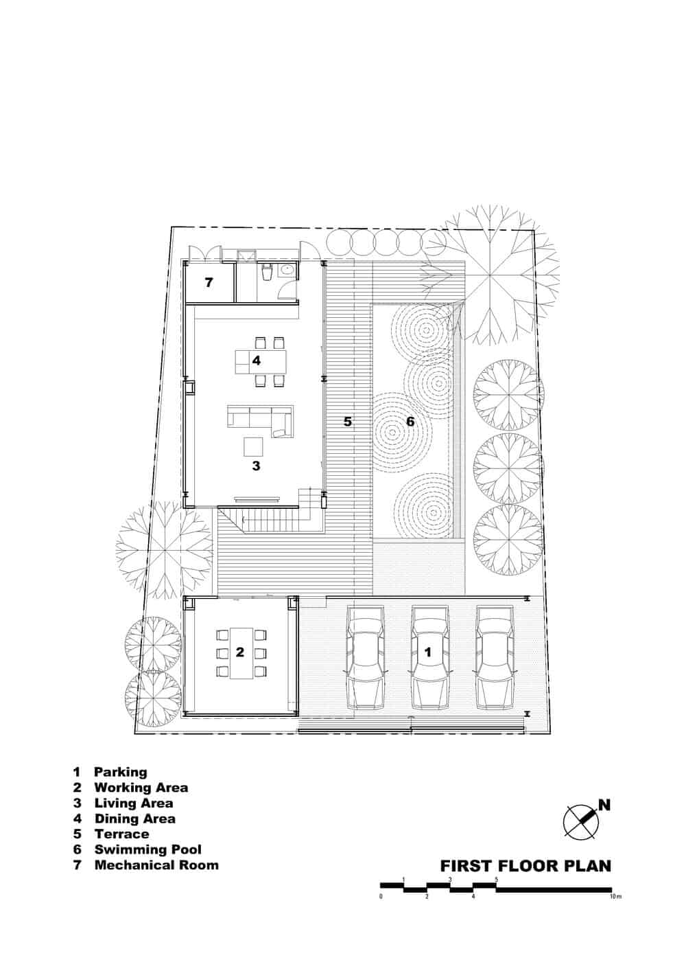 This is an illustration of the first level floor plan of the house with various sections of the house labeled.