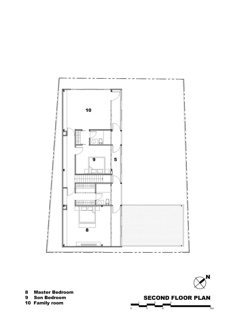 This is an illustration of the second level floor plan of the house with various sections of the house labeled.