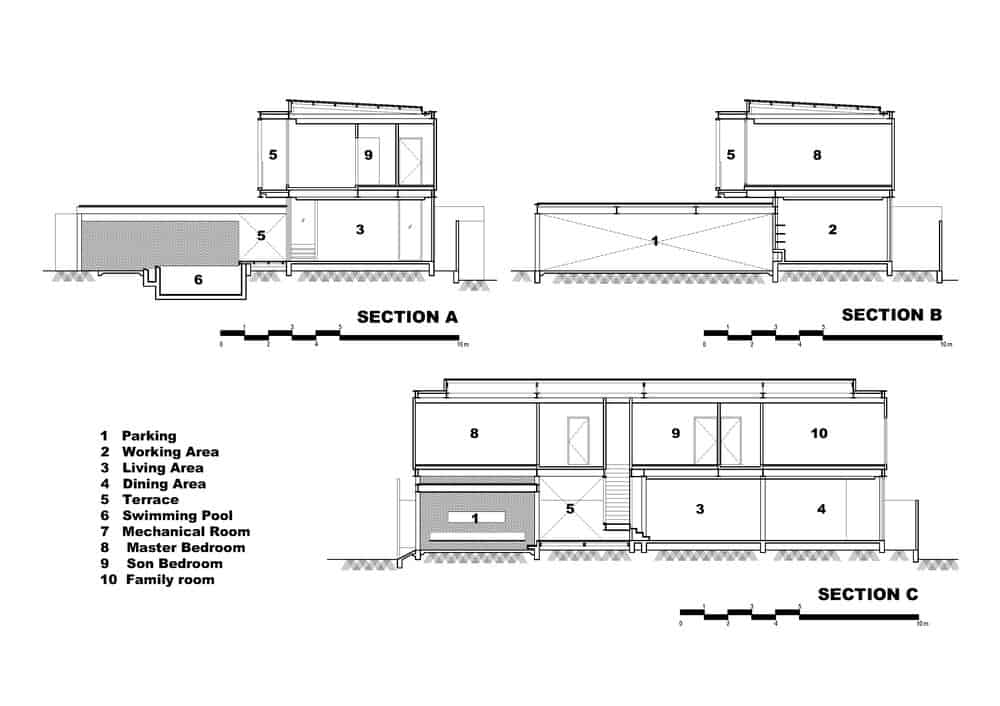This is the side elevation of the house with various sections of the house labeled.