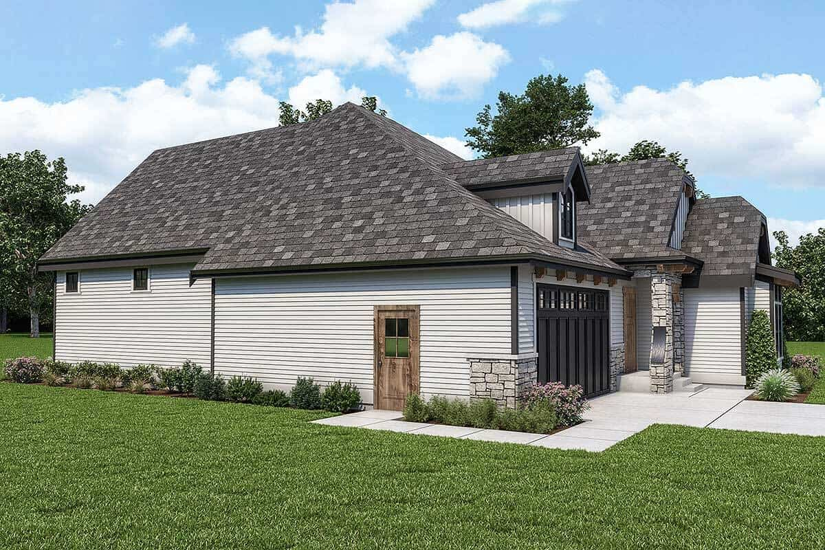 Left rendering of the 2-bedroom single-story country cottage.