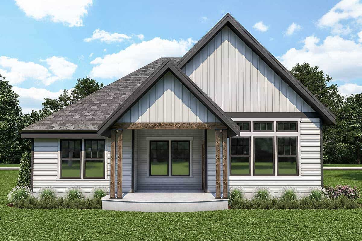 Rear rendering of the 2-bedroom single-story country cottage.