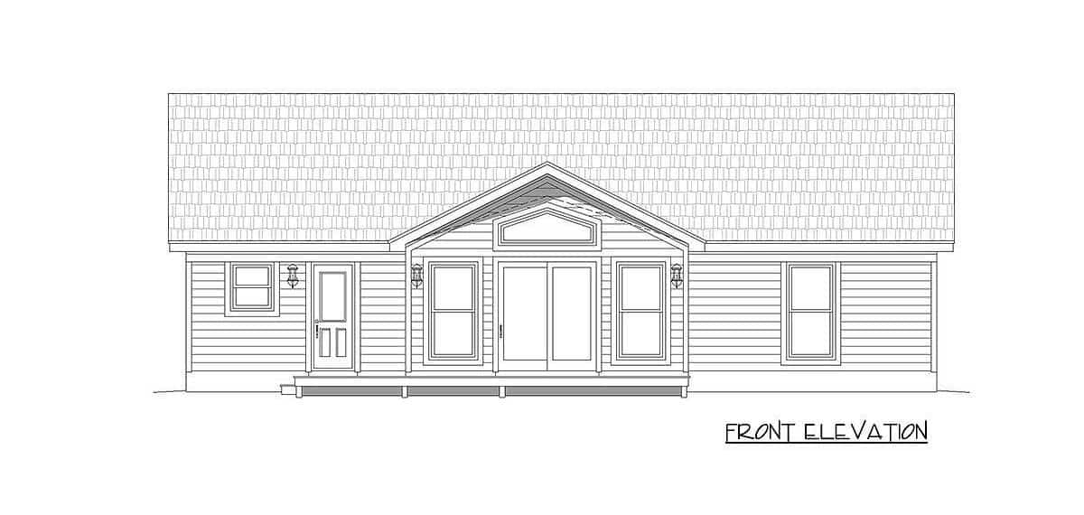 Front elevation sketch of the 2-bedroom single-story mountain ranch.