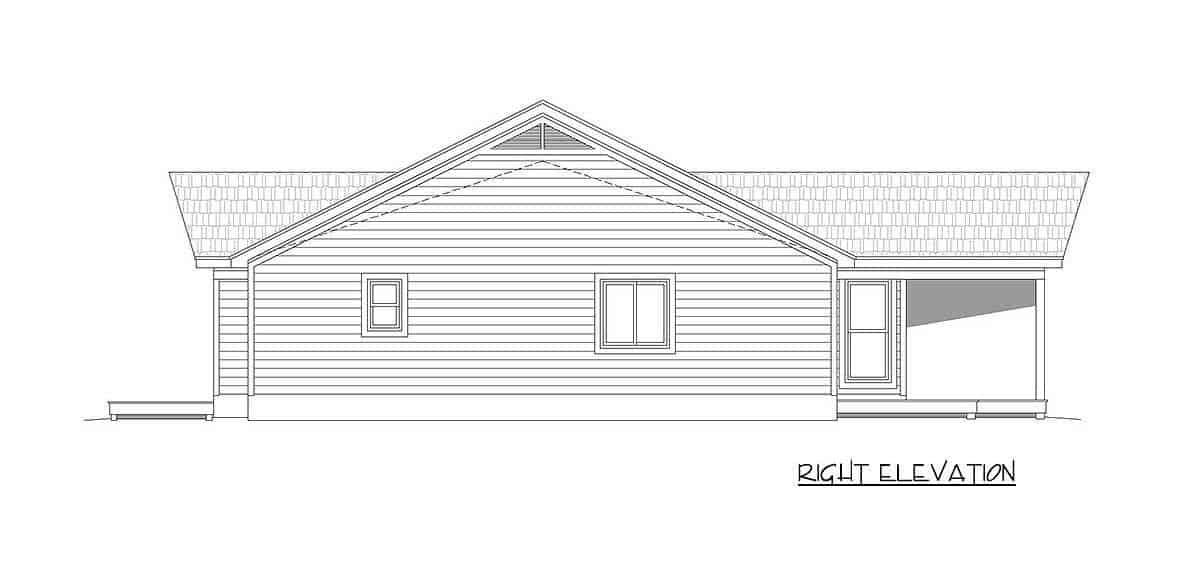 Right elevation sketch of the 2-bedroom single-story mountain ranch.