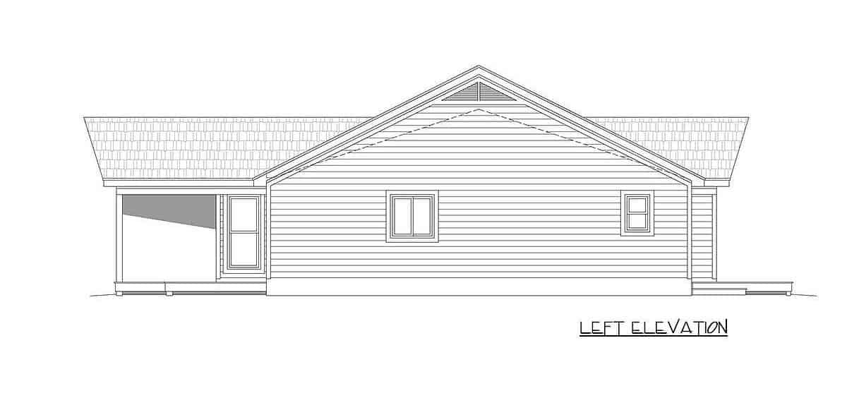 Left elevation sketch of the 2-bedroom single-story mountain ranch.