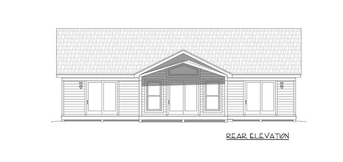 Rear elevation sketch of the 2-bedroom single-story mountain ranch.