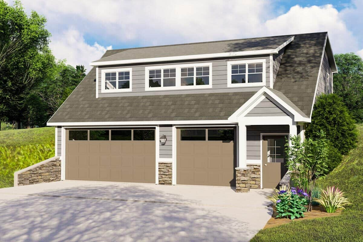 2-Bedroom Single-Story Traditional Carriage Home with Three-Car Garage