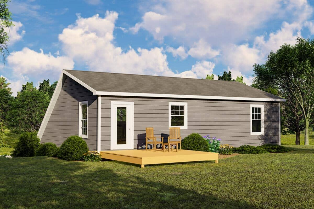 Rear rendering of the 2-bedroom single-story traditional carriage home.