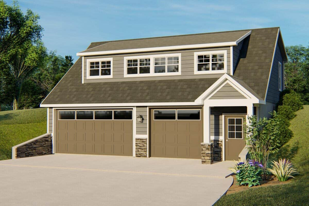 Front rendering of the 2-bedroom single-story traditional carriage home.