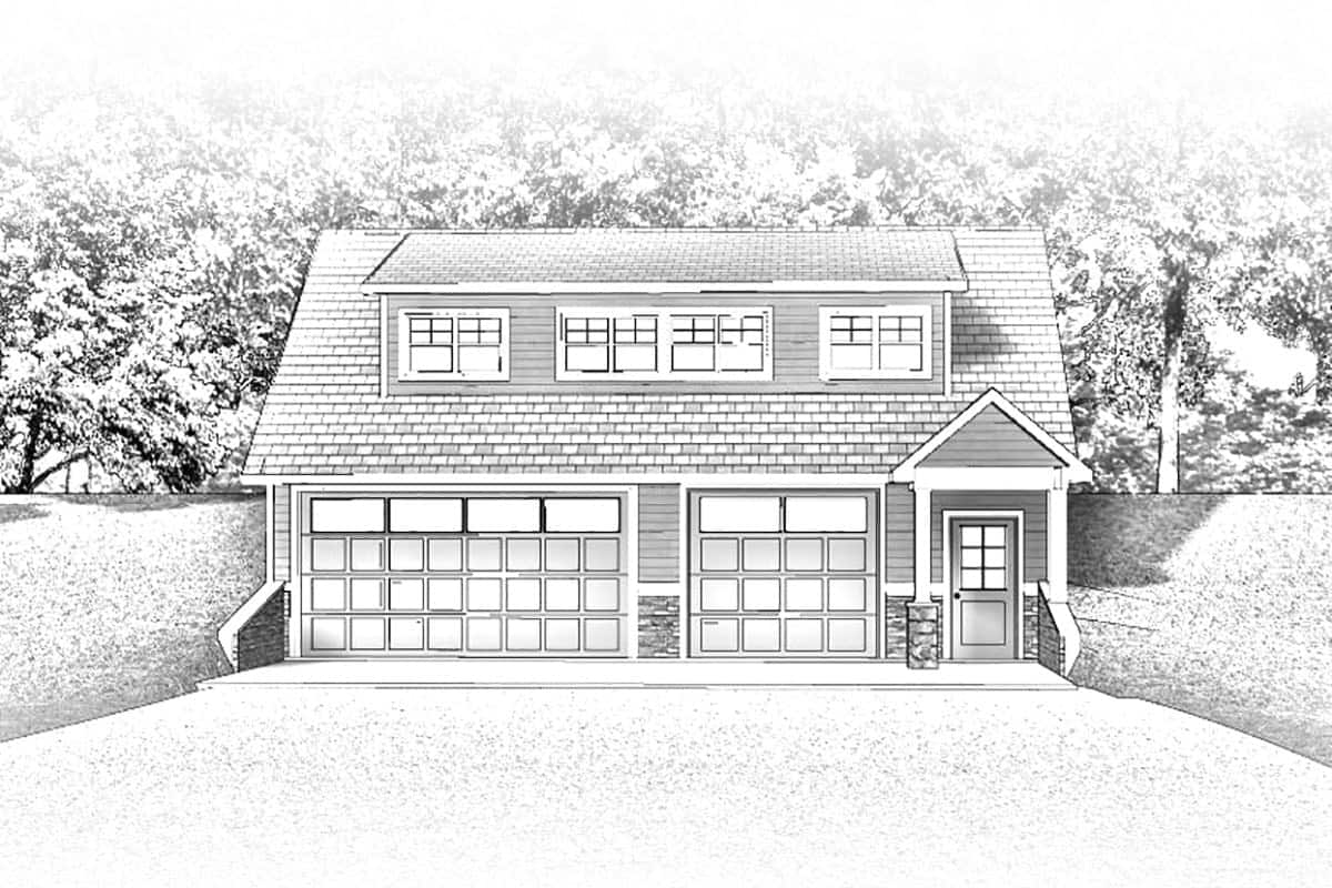 Rear perspective sketch of the 2-bedroom single-story traditional carriage home.