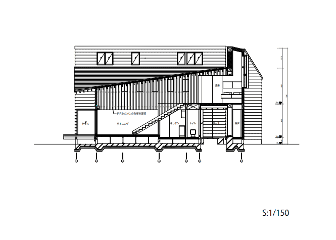 This is an illustrated representation of the lateral elevation of the house featuring the various sections of the house.