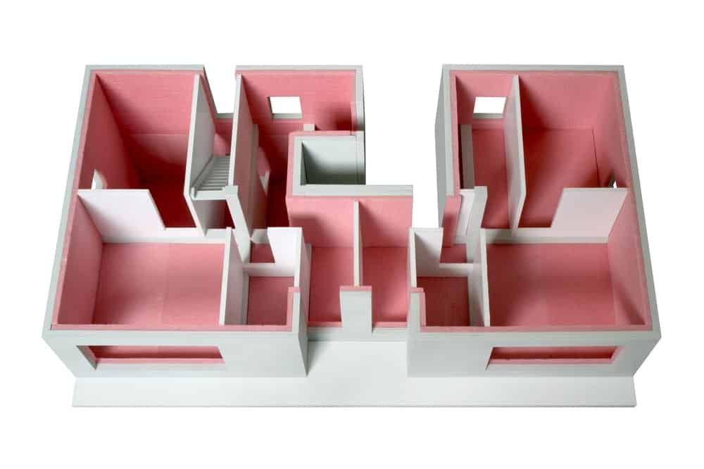 This is a 3D representation of the insulation model of the house.