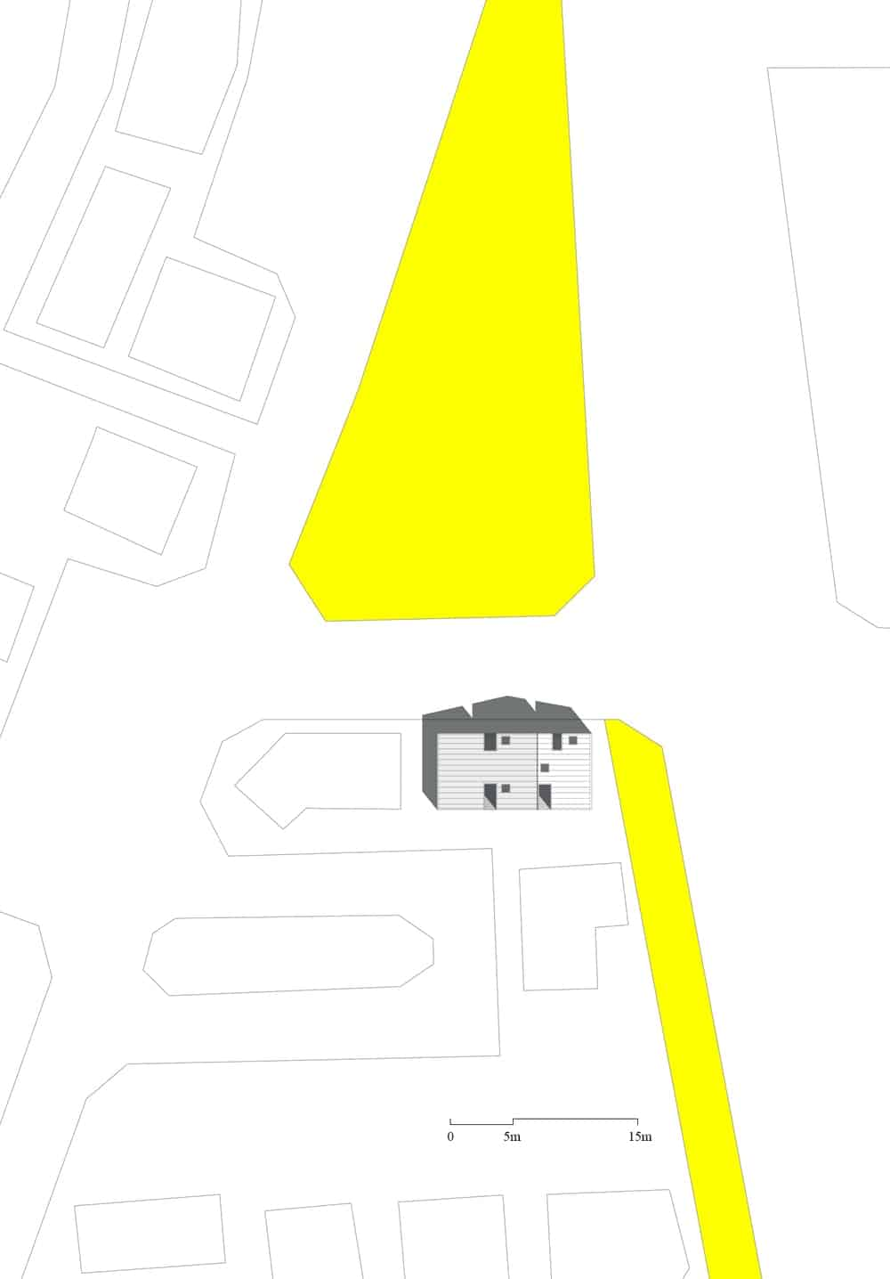This is an illustrative representation of the site plan for the house.