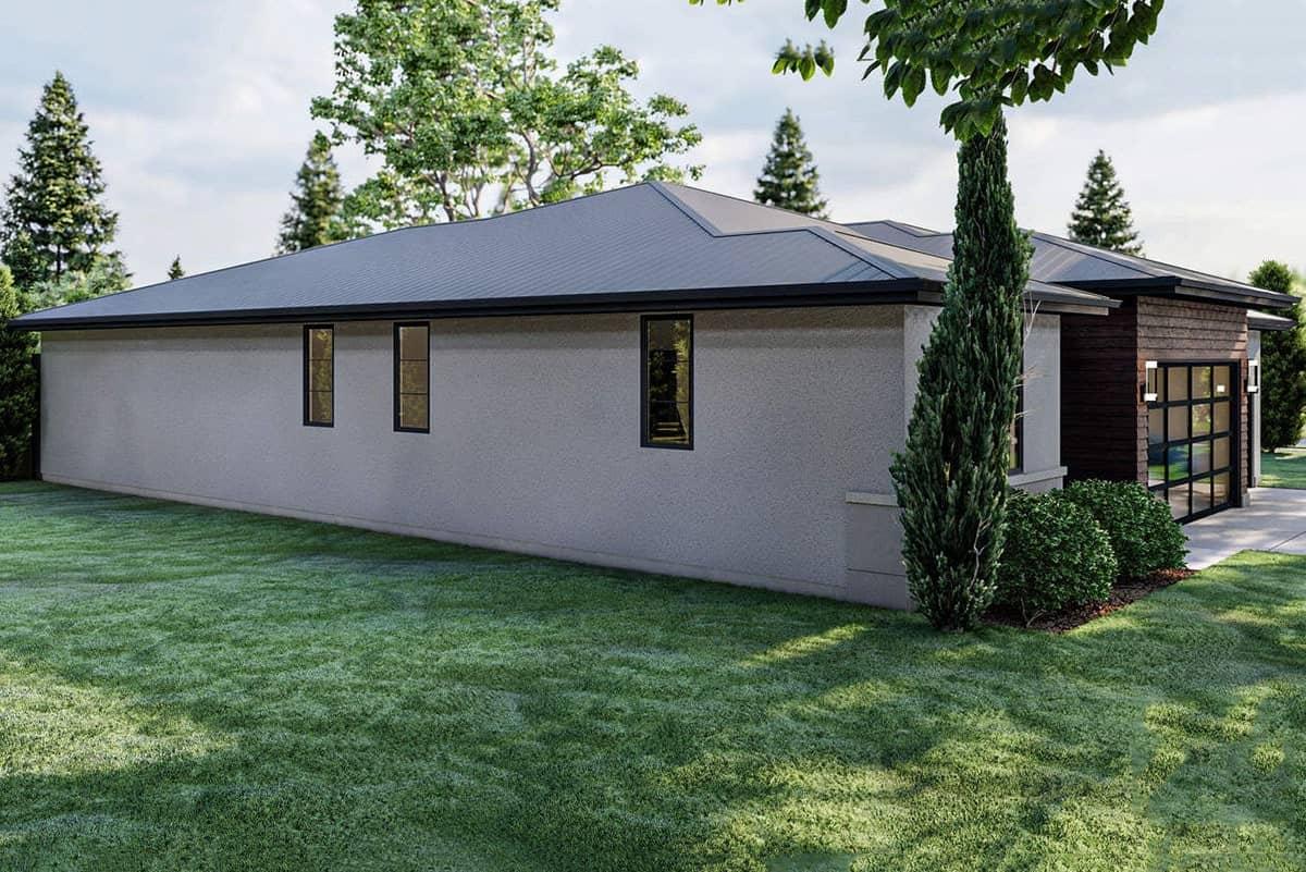 Left rendering of the 3-bedroom single-story modern prairie-style home.