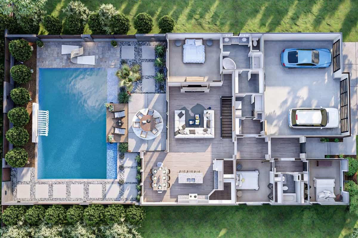 3D floor plan of the 3-bedroom single-story modern prairie-style home.