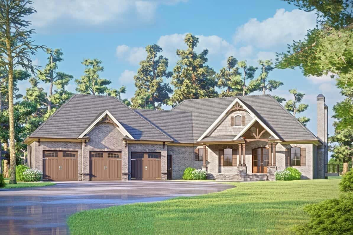 3-Bedroom Single-Story New American Home for a Rear Sloping Lot with Angled 3-Car Garage Plus a Drive-Under Garage