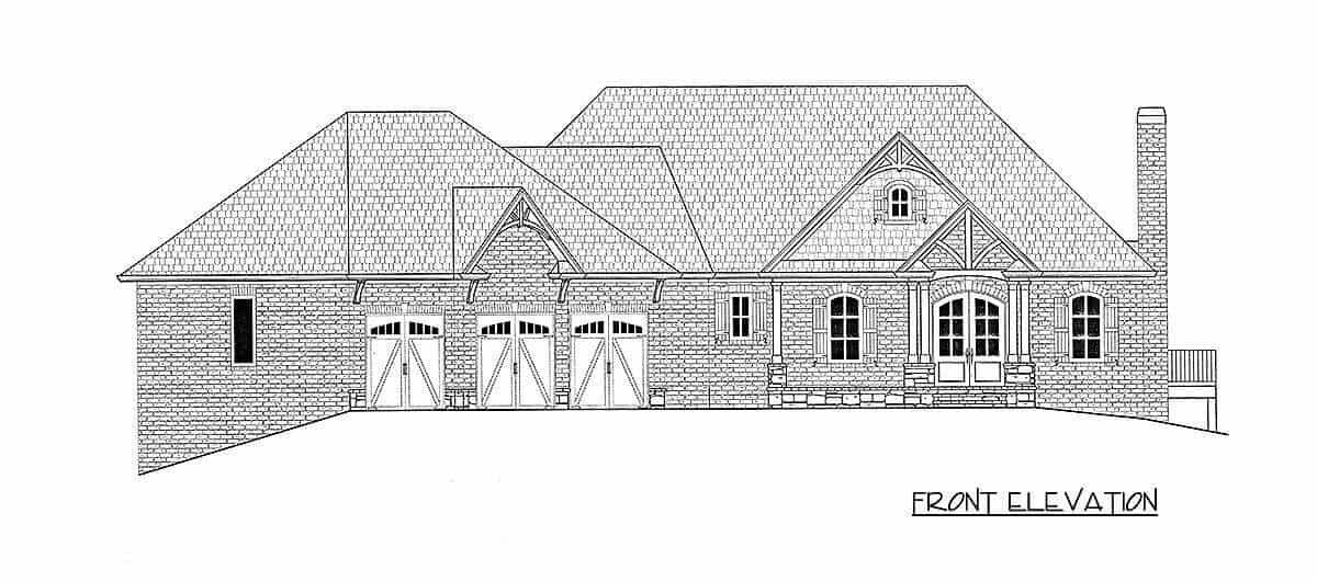 Front elevation sketch of the 3-bedroom single-story New American home.